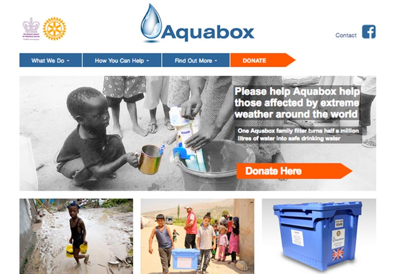 aquabox website for charity