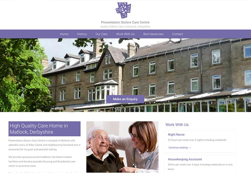 website design for Presentation Sisters Care Centre matlock